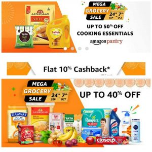Live Now - Amazon Fresh, Pantry (Mega Grocery Sale) - Upto 40% off + Extra Rs.100 Cashback (24th Sept - 7th Oct)